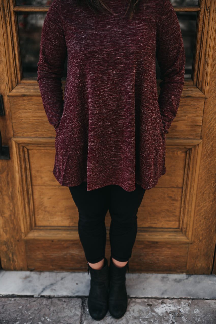 a-line tunic with elbow patch