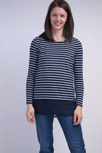 Striped long sleeve top with chiffon bottom