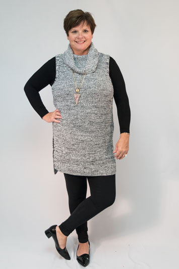 Knit Cowl Sleeveless Tunic