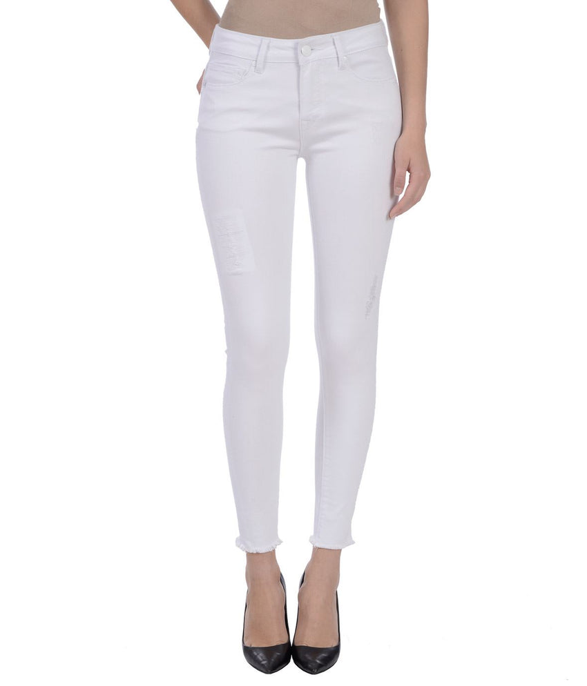 Mid rise stretch white jean
