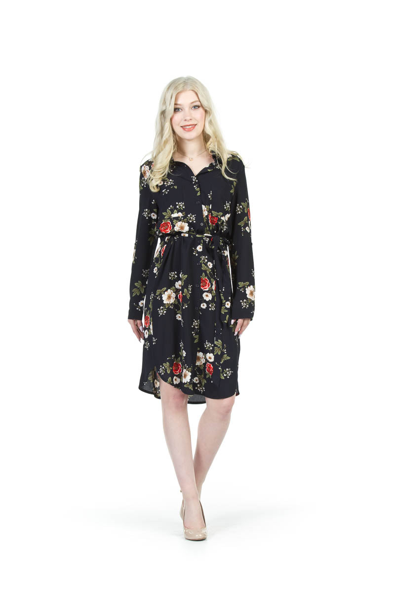 Floral Shirt Dress With Waist Tie