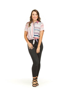 Contrasting Stripe Front Knot Shirt