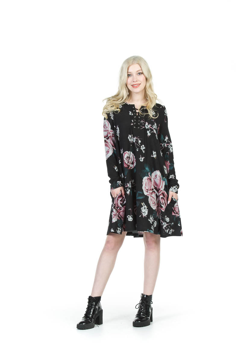Floral Sweater Dress With Lace Up Front