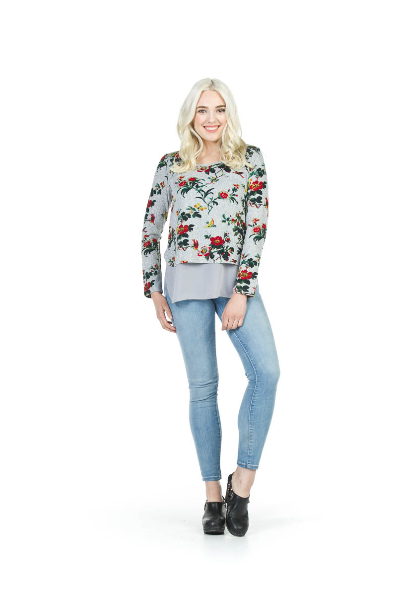 Floral Sweater with Georgette
