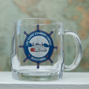 Steamboat Company Bicentennial 12 Oz. clear glass coffee mug