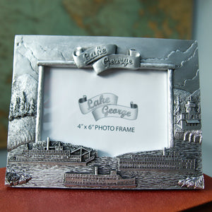 "Pewter Finish 4 x 6"" Steamboat Photo Frame"
