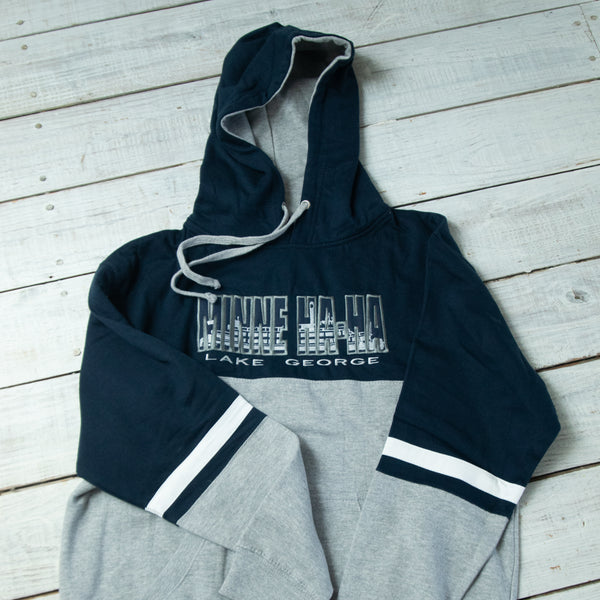 Adult Minne Ha-Ha Tri-Color Pullover Hoodie, Blue/Gray/White