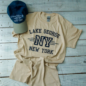 Adult Tee-shirt and Baseball Cap Lake George Combo - Sand & Navy