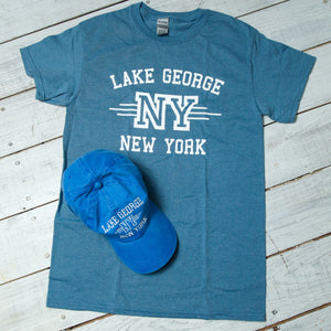 Adult Tee-shirt and Baseball Cap Lake George Combo - Indigo