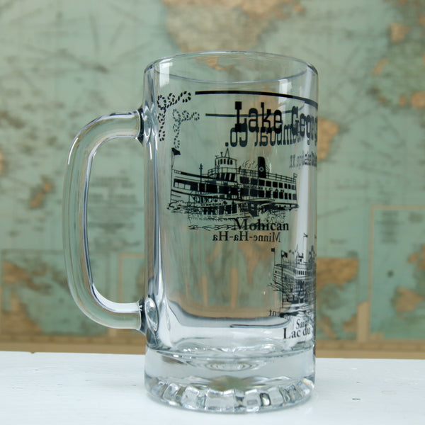 Libbet Glass Beer Stein with 3 Boat Wrap-around Design