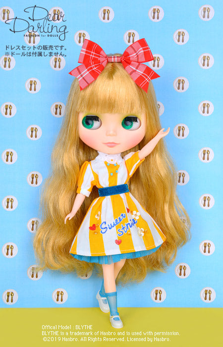 "Load image into Gallery viewer, Dear Darling fashion for dolls ""sandy striped dress set"""