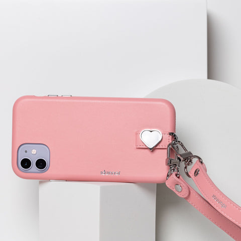 iPhone leather hand made high end charm pink strap