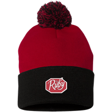 Load image into Gallery viewer, The Ruby Pom Pom Knit Cap