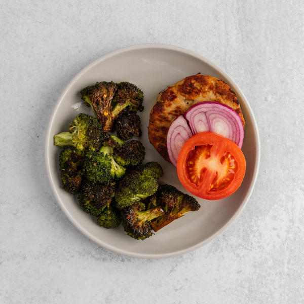 Chicken Burger with Burnt Broccoli