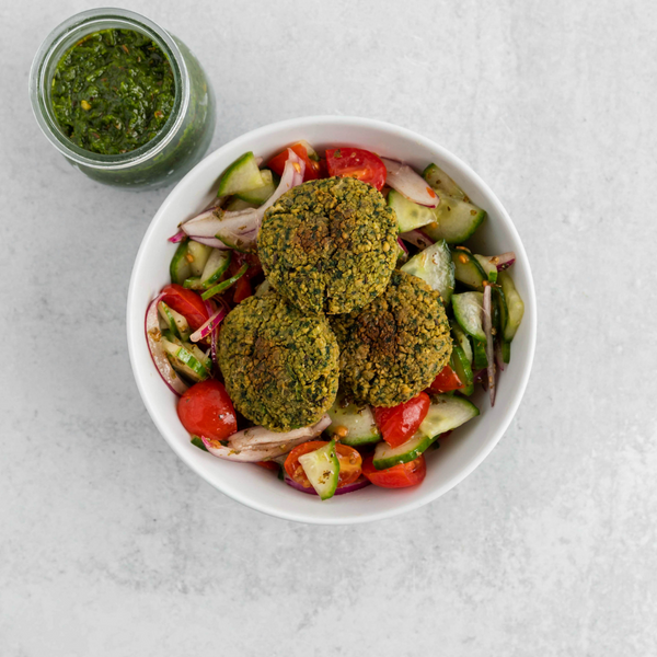*NEW* Falafel with Tomato Cucumber Salad & Zhoug