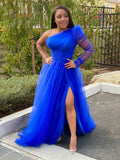 SHE'S ICONIC ONE SLEEVE DRESS - ROYAL BLUE ( PRE ORDER)
