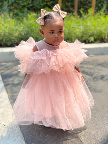 KIDS BIG REVEAL RUFFLE DRESS - PINK (PRE-ORDER JUNE)