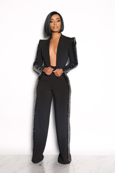 MILLIONAIRE TWO PIECE SEQUIN SET - BLACK ( PRE ORDER MAY 5)
