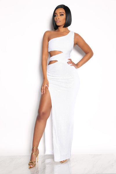 ACT UP SEQUIN DRESS - WHITE