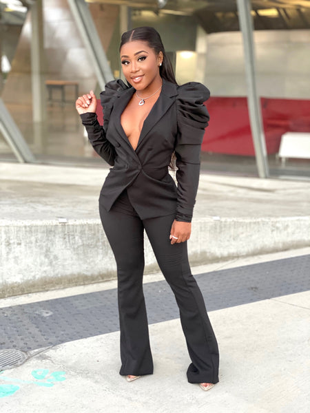BOSS LADY RUCHED SUIT - BLACK