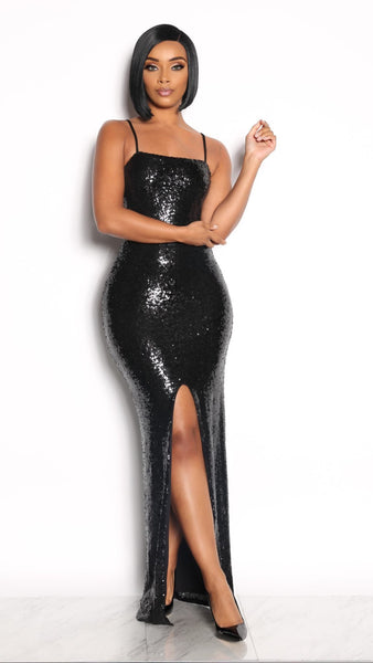 READY FOR LOVE SEQUIN DRESS - BLACK