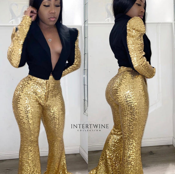 MILLIONAIRE TWO PIECE SEQUIN SET - GOLD