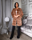 STEPHANIE FUR JACKET- BROWN