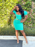 PERFECT TIMING DRESS - TURQUOISE