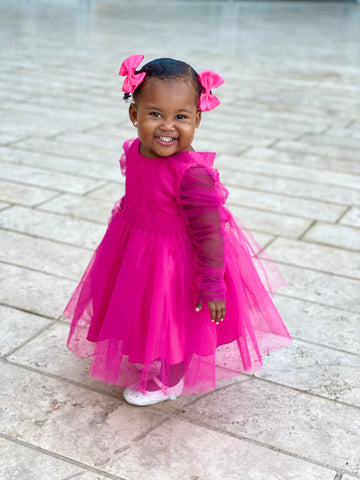 KIDS ICONIC TWO SLEEVE DRESS - FUCHSIA ( PRE ORDER JUNE)