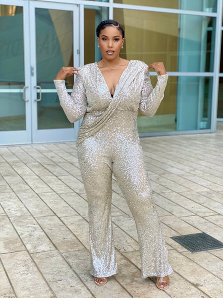 HIGH MAINTENANCE  DRAPE JUMPSUIT - SILVER