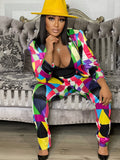 PIECE OF THE PUZZLE TWO PIECE SUIT - MULTI ( PRE ORDER MARCH)