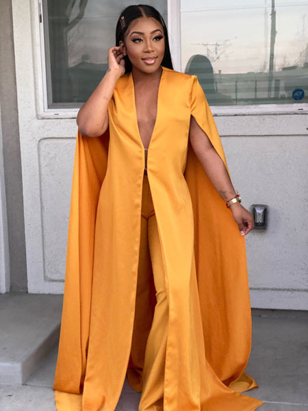 CAPTIVATING CAPE TWO PIECE SET - MUSTARD
