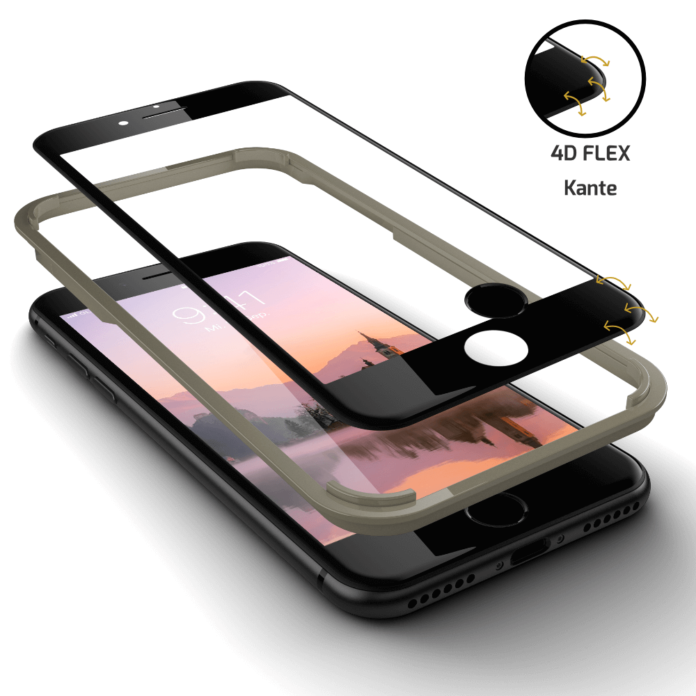 Hybrid Displayschutz inkl. Touch ID Button in schwarz iPhone 8 Plus