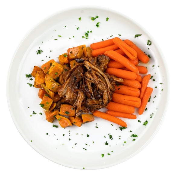 BBQ Pulled Pork, Roasted Sweet Potatoes, Ginger Glazed Baby Carrots