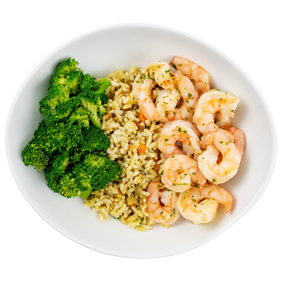 Garlic Shrimp, Brown Rice Pilaf, Steamed Broccoli