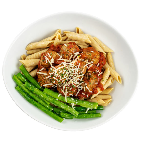 Italian-Style Meatballs, Whole Wheat Penne, Garlicky Green Beans