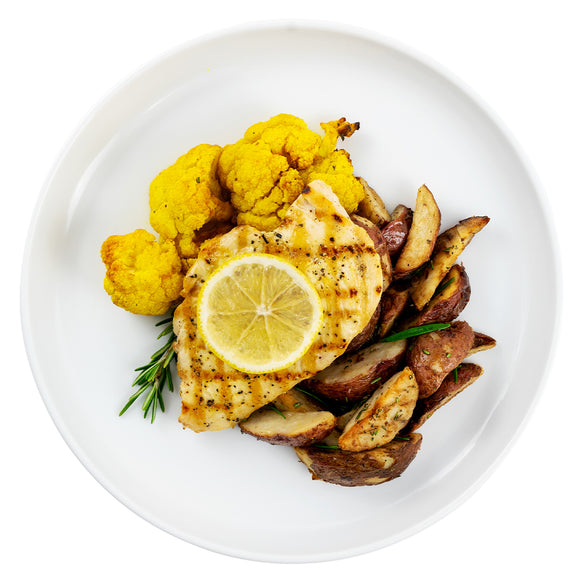 Lemon-Pepper Chicken Breast, Rosemary-Garlic Roasted Red Potatoes, Curried Cauliflower
