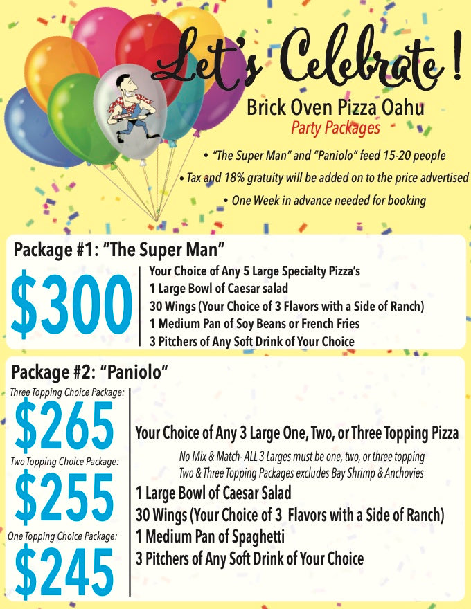 BOP Pizza Party Packages