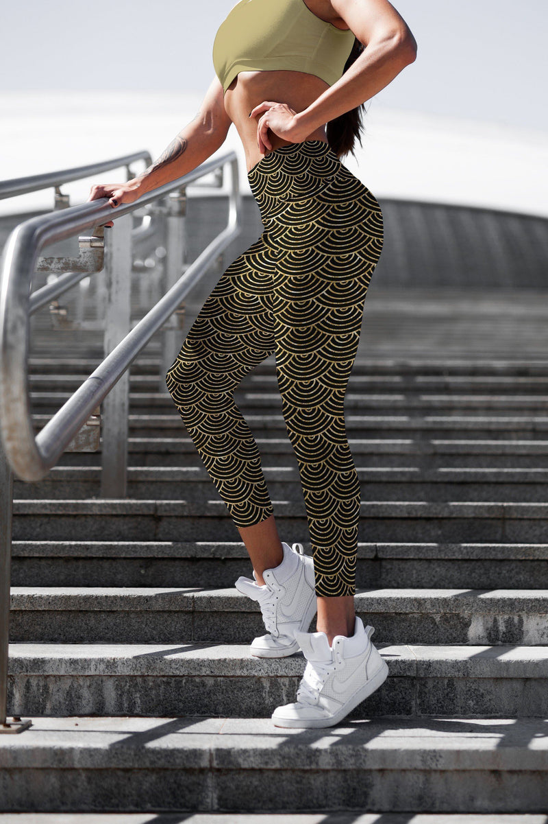 Gold Black Mermaid leggings, Capris and Shorts - The SheEO Store