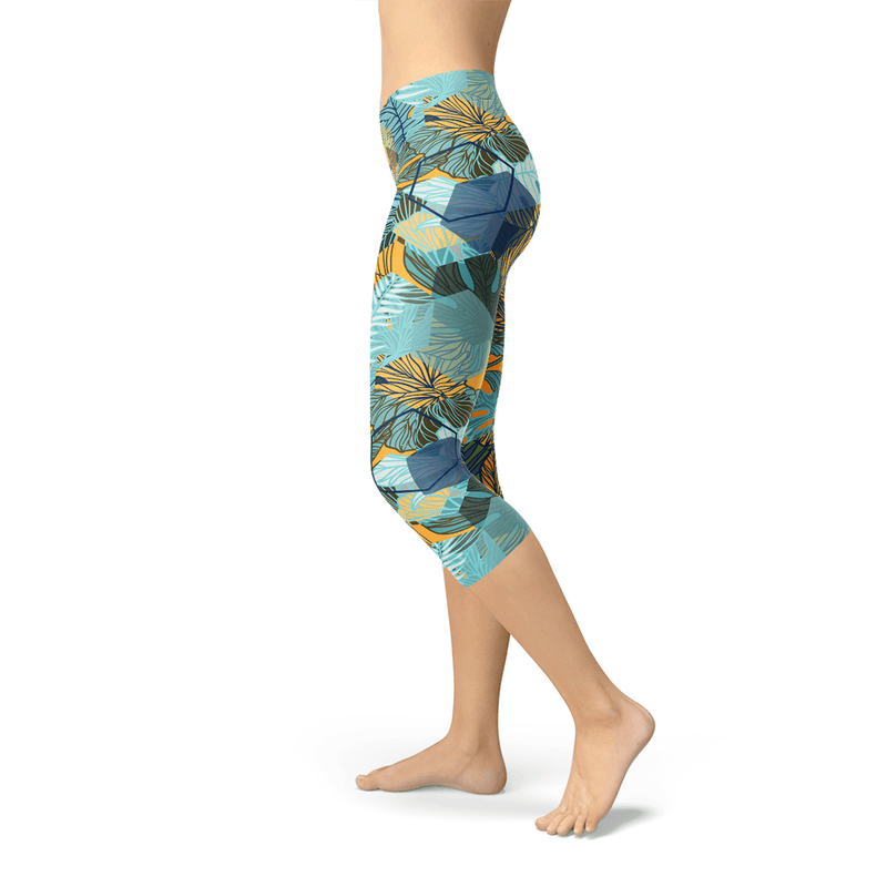 Hexagon Floral Capri Leggings - The SheEO Store