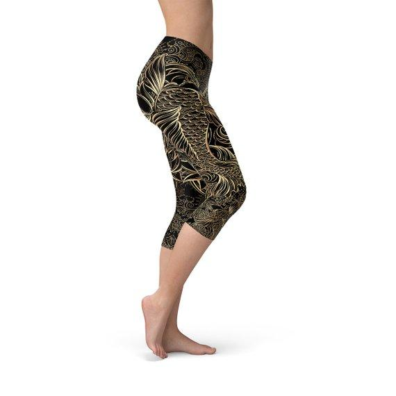 Koi Fish Black Capri Leggings - The SheEO Store
