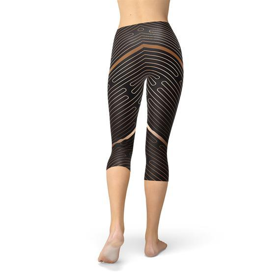 Womens Striped Lines Sports Brown Capri Leggings - The SheEO Store