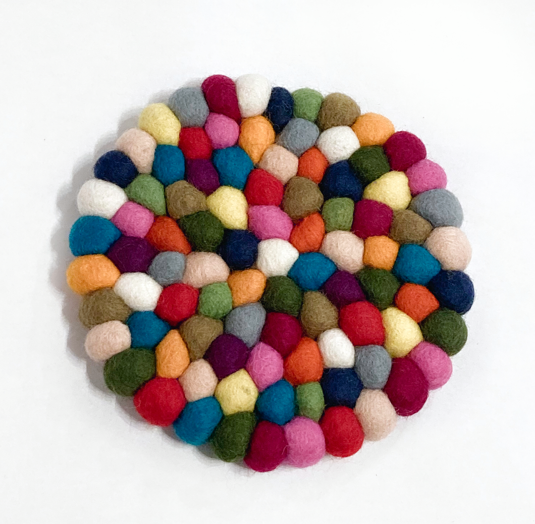Multicolor Round Felted Ball Trivet