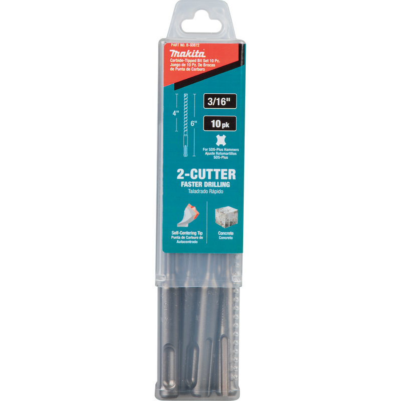 "Makita B-60872 3/16"" x 6"" SDS‑PLUS Bit, 2‑Cutter, 10/pk (Pack of 50)"