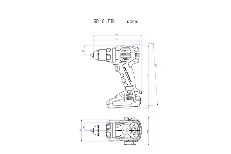 Metabo 602316520 18V Brushless Hammer Drill/Driver Kit 2X 2.0AH