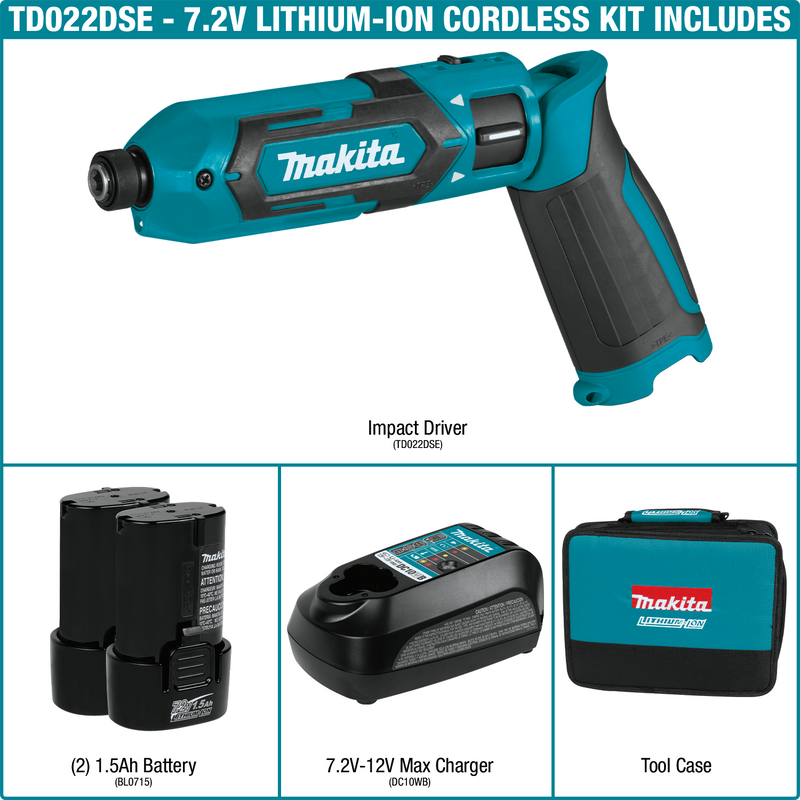 Makita TD022DSE 7.2V Lithium‑Ion Cordless Impact Driver Kit (Pack of 4)