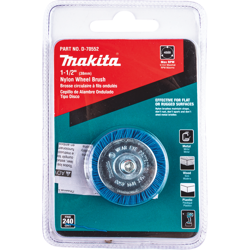 "Makita D-70552 1‑1/2"" Nylon Wheel Brush, Fine, 240 Grit (Pack of 120)"