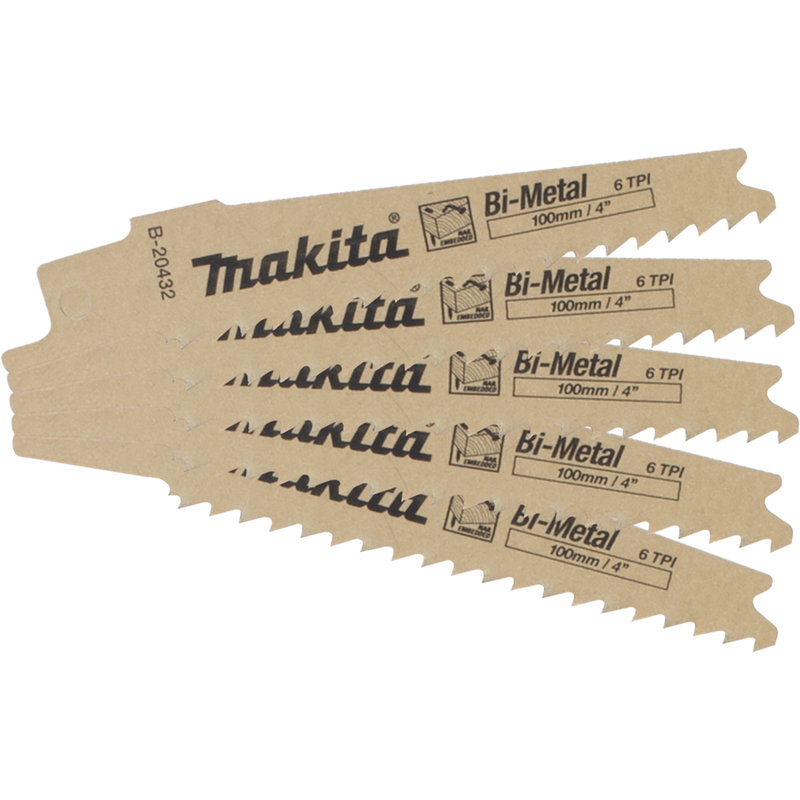 "Makita B-20432 4"" 6TPI Nail Embedded Wood Cutting Recipro Saw Blade, 5/pk (Pack of 2)"