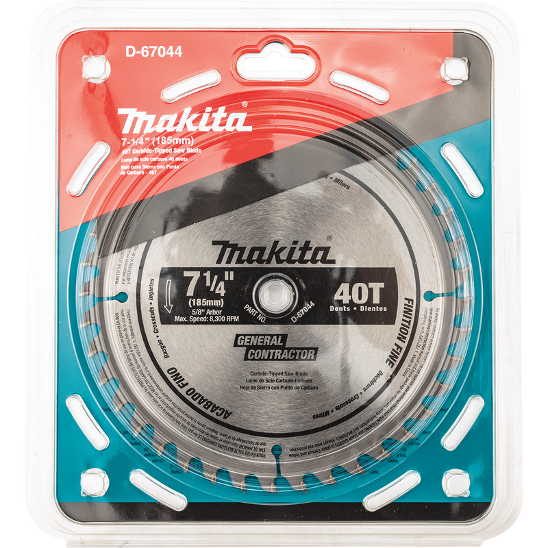 "Makita D-67044 7‑1/4"" 40T Carbide‑Tipped Circular Saw Blade, Fine Crosscutting (Pack of 40)"