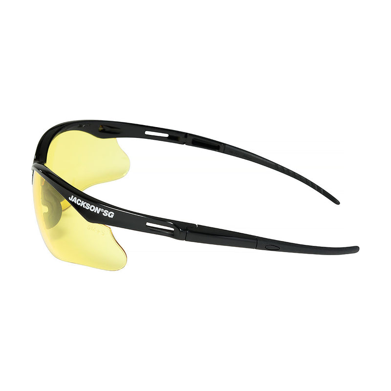 Safety Glasses with Black Frame and Amber Anti-Fog Lens (Case of 12 Pcs)